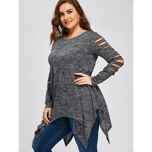 cfe2108906661d S M Y S for Curves Collection Tops - Plus Size Ripped Sleeve Handkerchief  Top - Gray